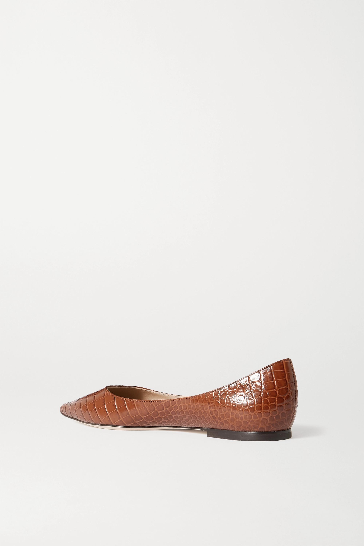 Jimmy Choo Love 仿鳄鱼纹皮革尖头平底鞋
