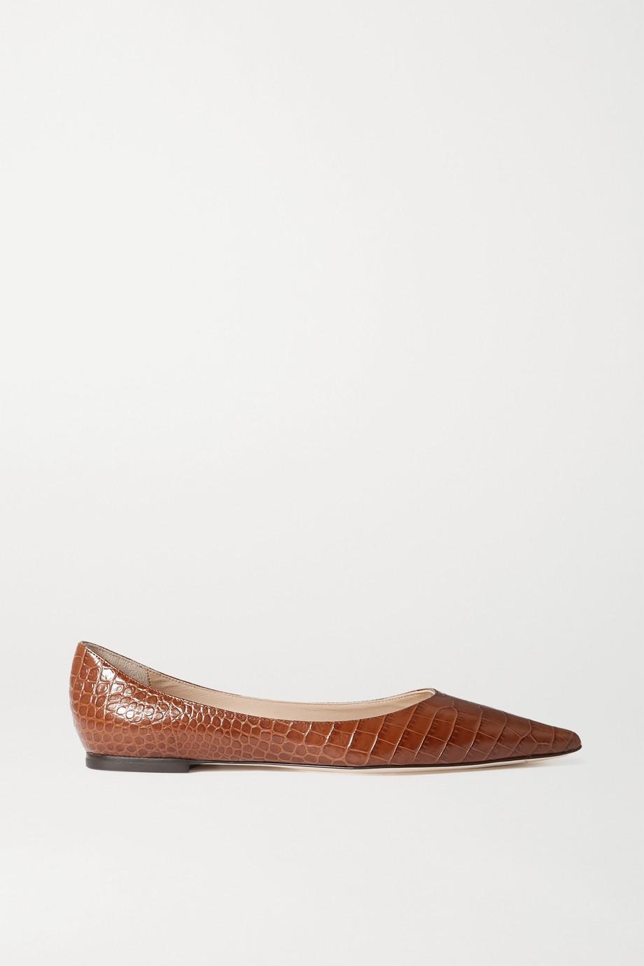 Jimmy Choo Love croc-effect leather point-toe flats