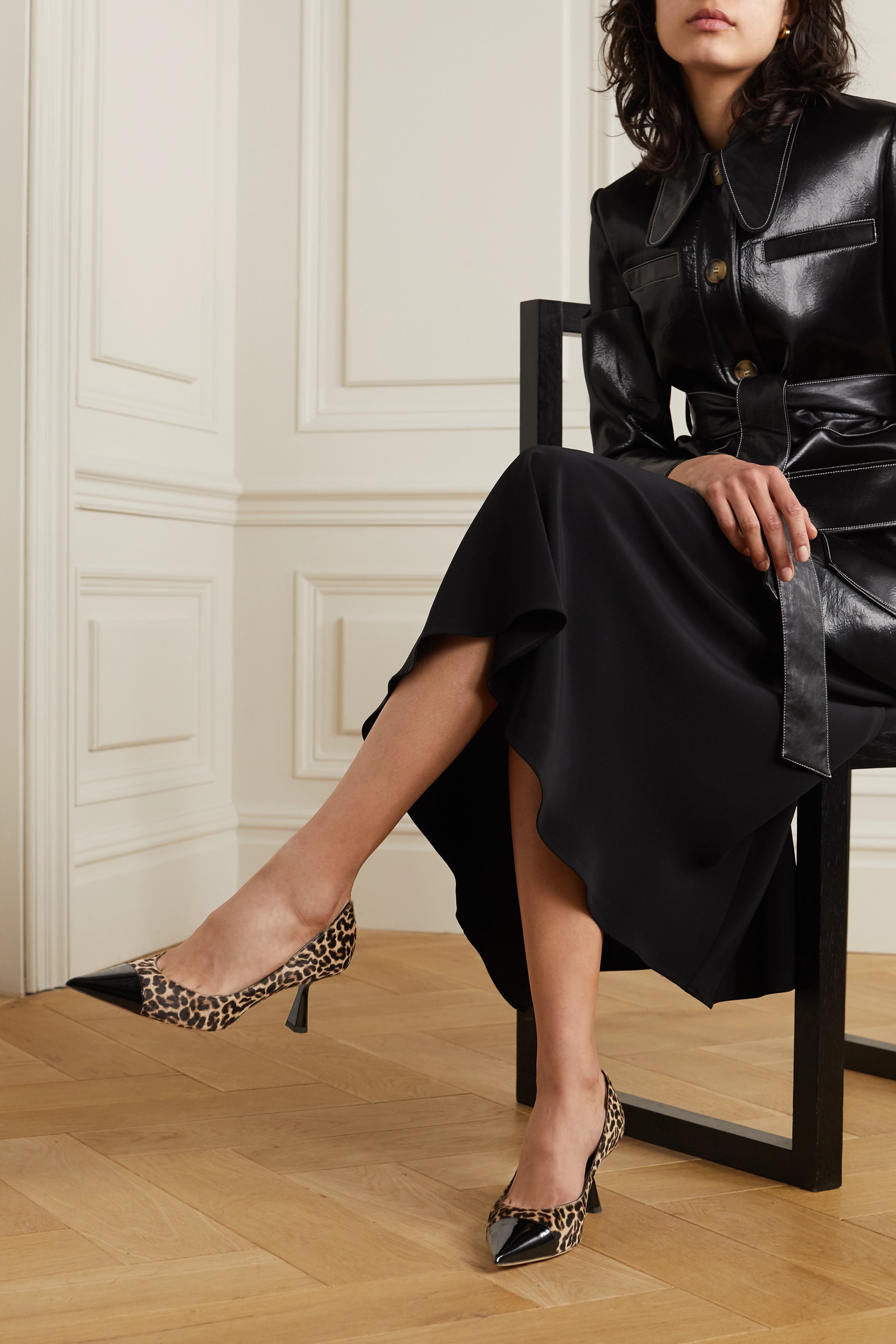 Jimmy Choo Rene 65 leopard-print goat hair and patent-leather pumps