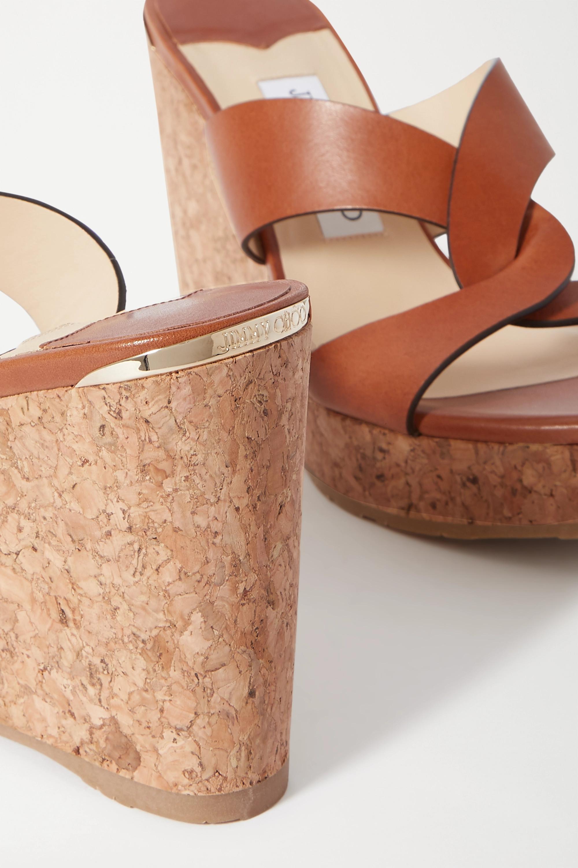 Jimmy Choo Atia 100 皮革坡跟凉鞋