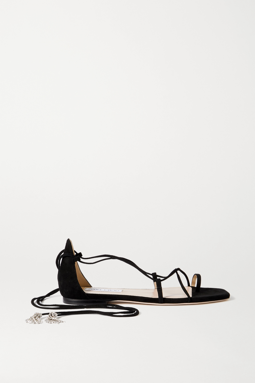Jimmy Choo Dusti crystal-embellished suede sandals
