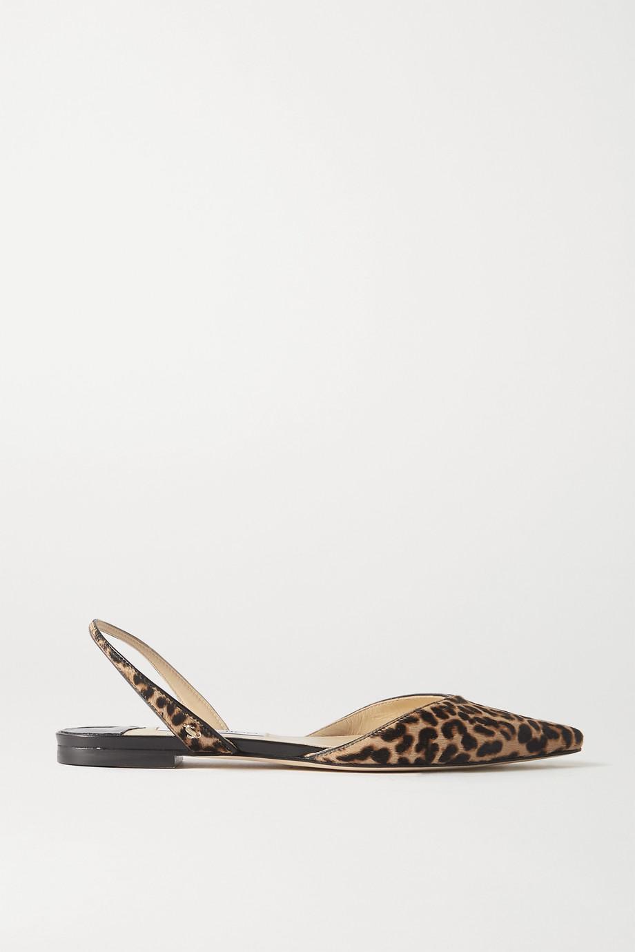 Jimmy Choo Chaussures plates à brides et à bouts pointus en façon poulain à imprimé léopard Thandi