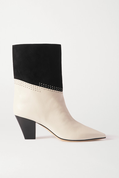 Jimmy Choo BEAR 65 TWO-TONE STUDDED SUEDE AND LEATHER ANKLE BOOTS