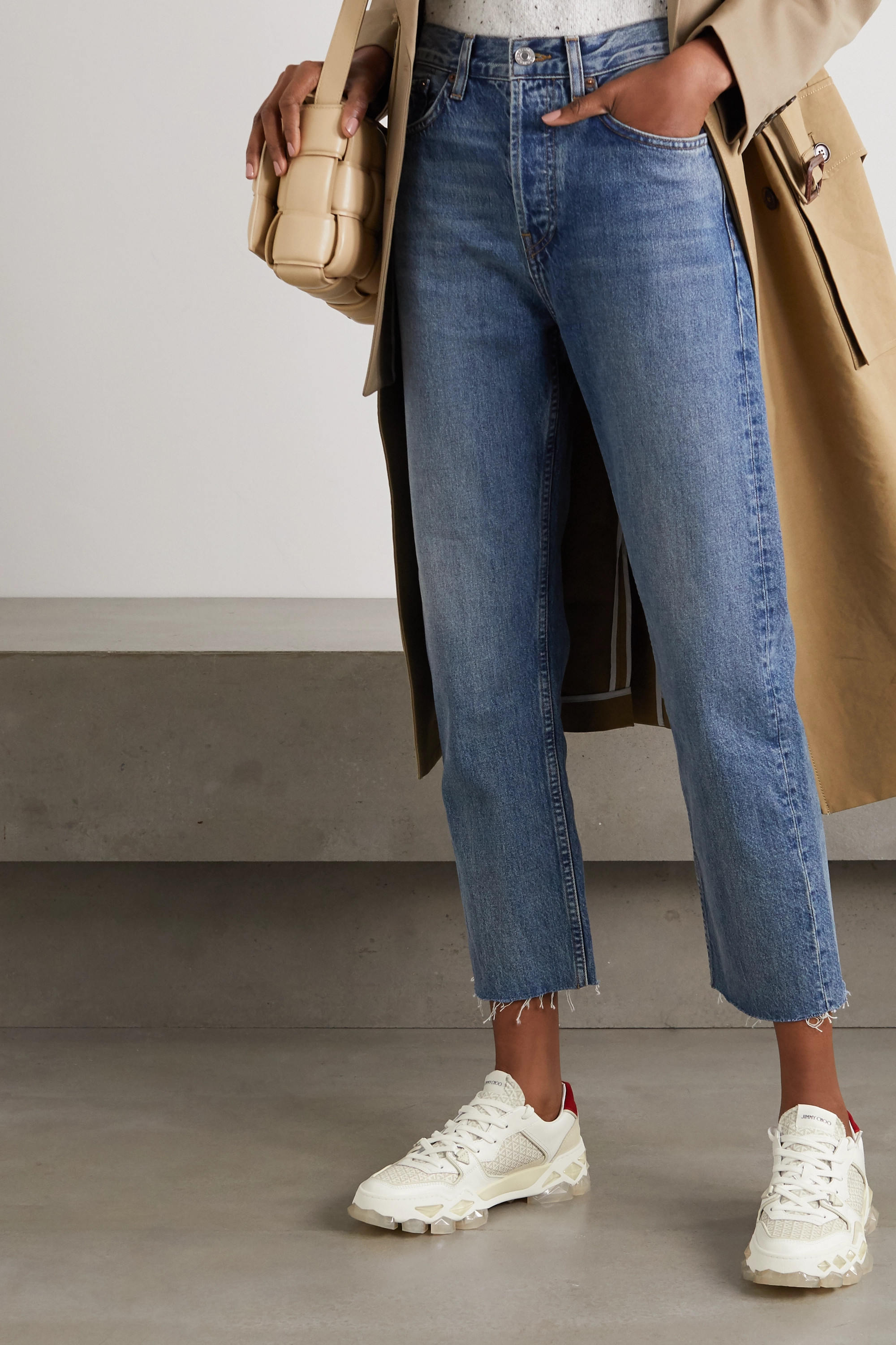 Jimmy Choo Diamond printed canvas, suede and leather sneakers