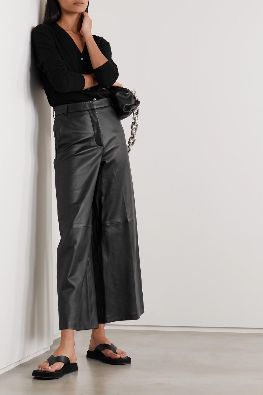 Joseph Tuba cropped leather wide-leg pants