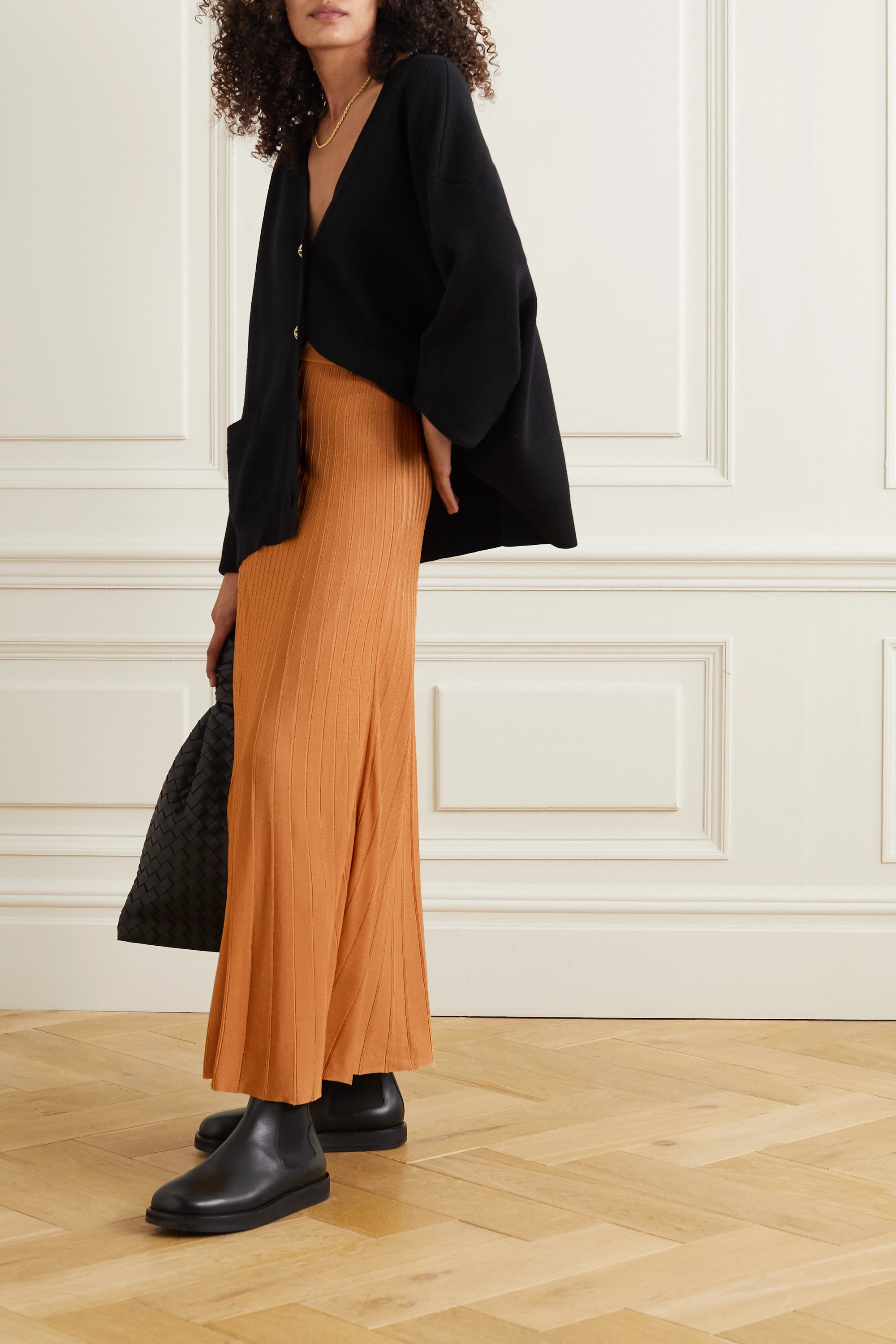 Joseph Ribbed-knit midi skirt