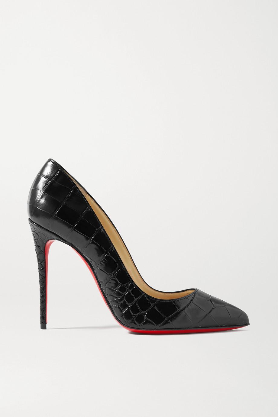 Christian Louboutin Pigalle Follies 100 仿鳄鱼纹皮革高跟鞋