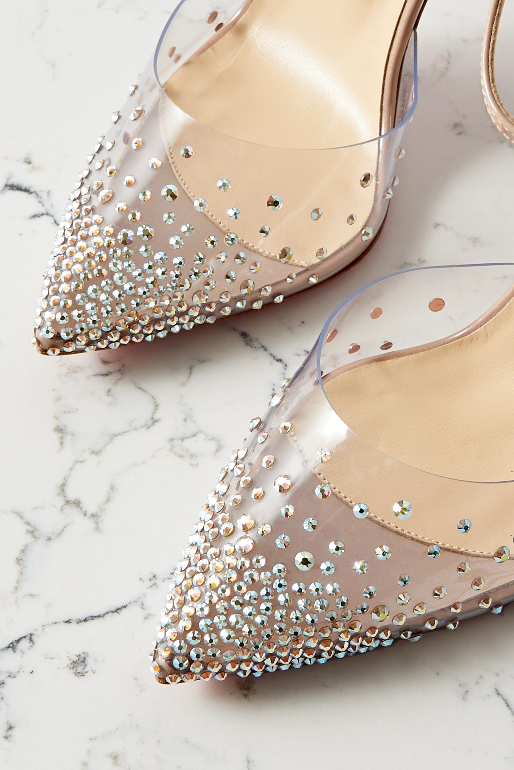 Christian Louboutin Spika Queen 100 crystal-embellished PVC and leather pumps