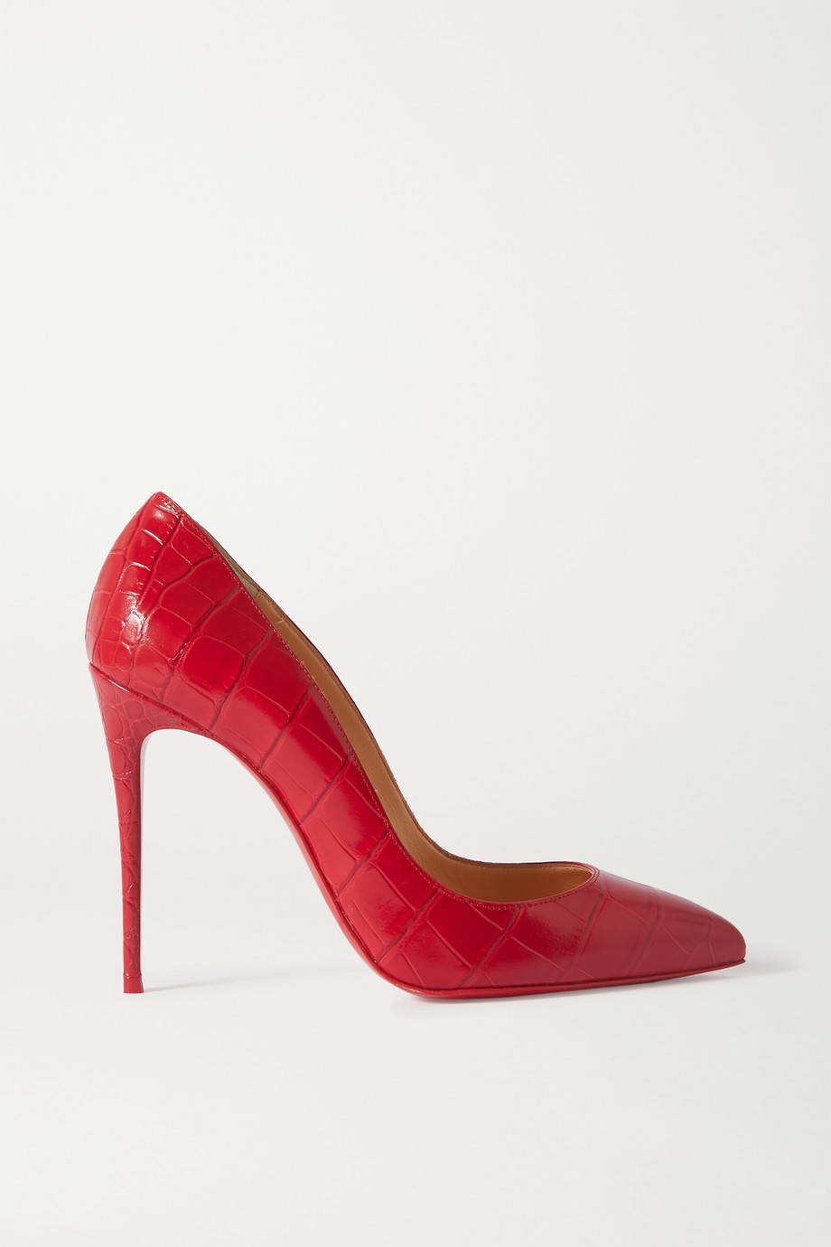 Christian Louboutin Pigalle Follies 100 croc-embossed leather pumps