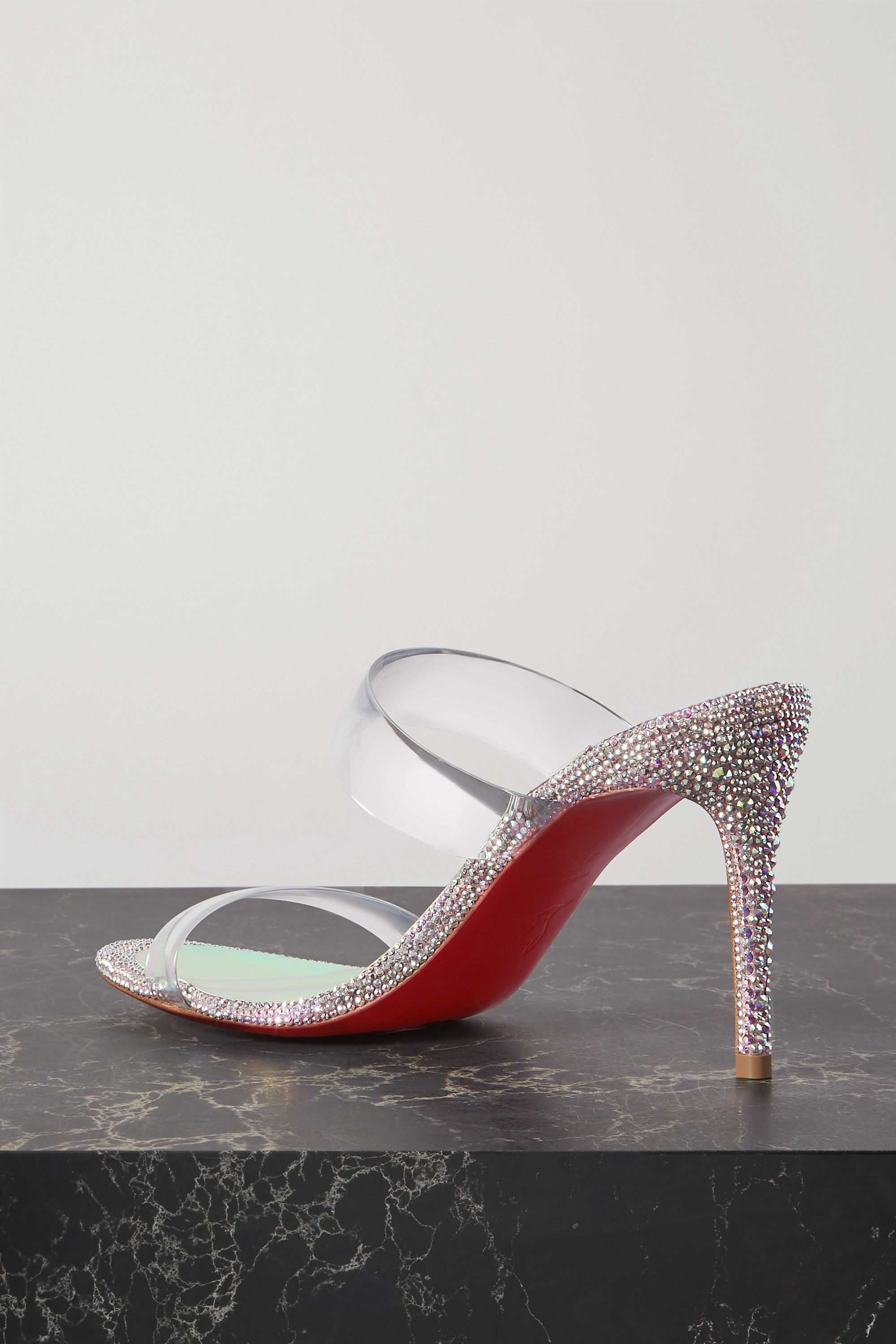 Christian Louboutin Just Strass 85 crystal-embellished PVC and iridescent leather sandals