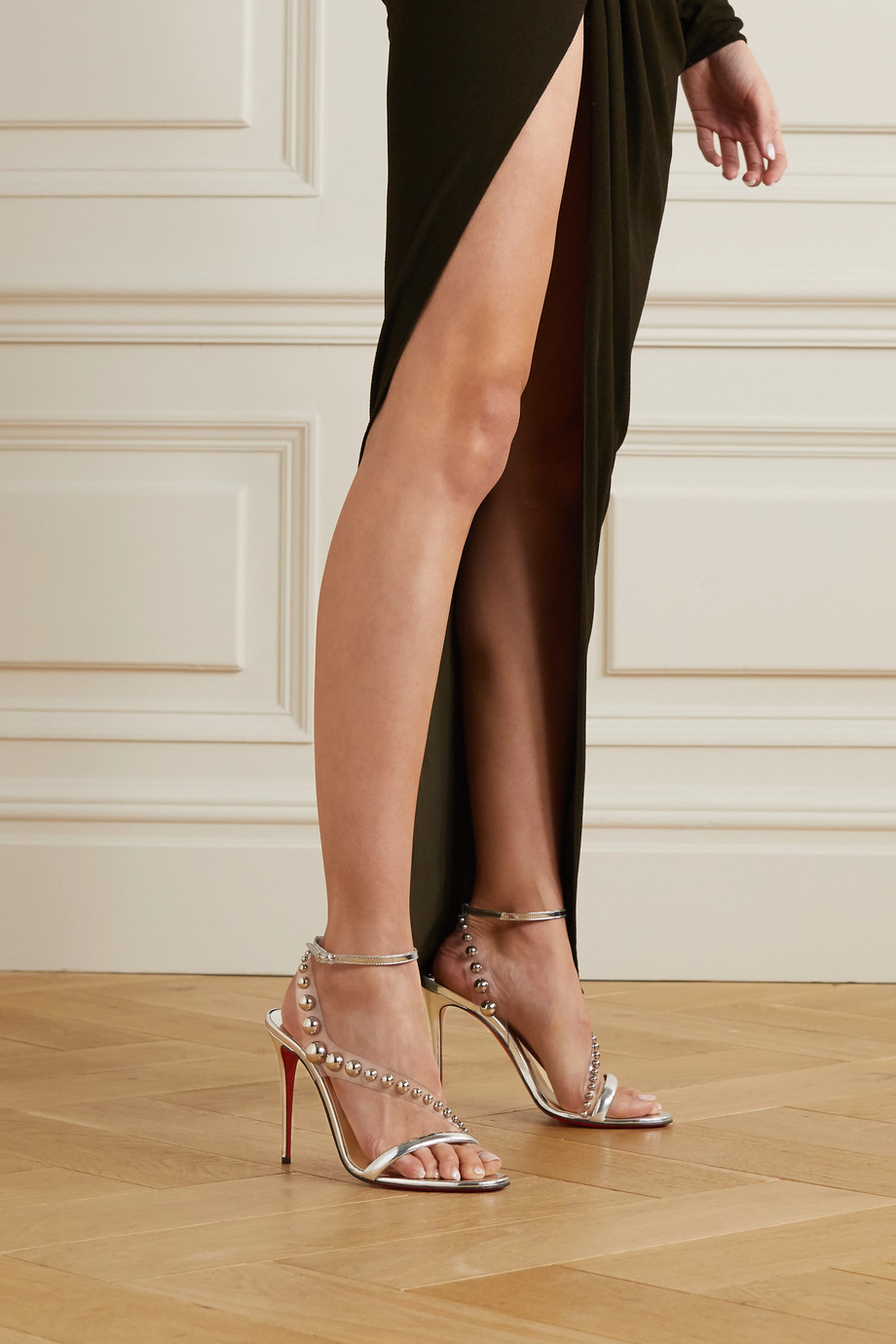 Christian Louboutin Corinetta 100 studded PVC and metallic leather sandals
