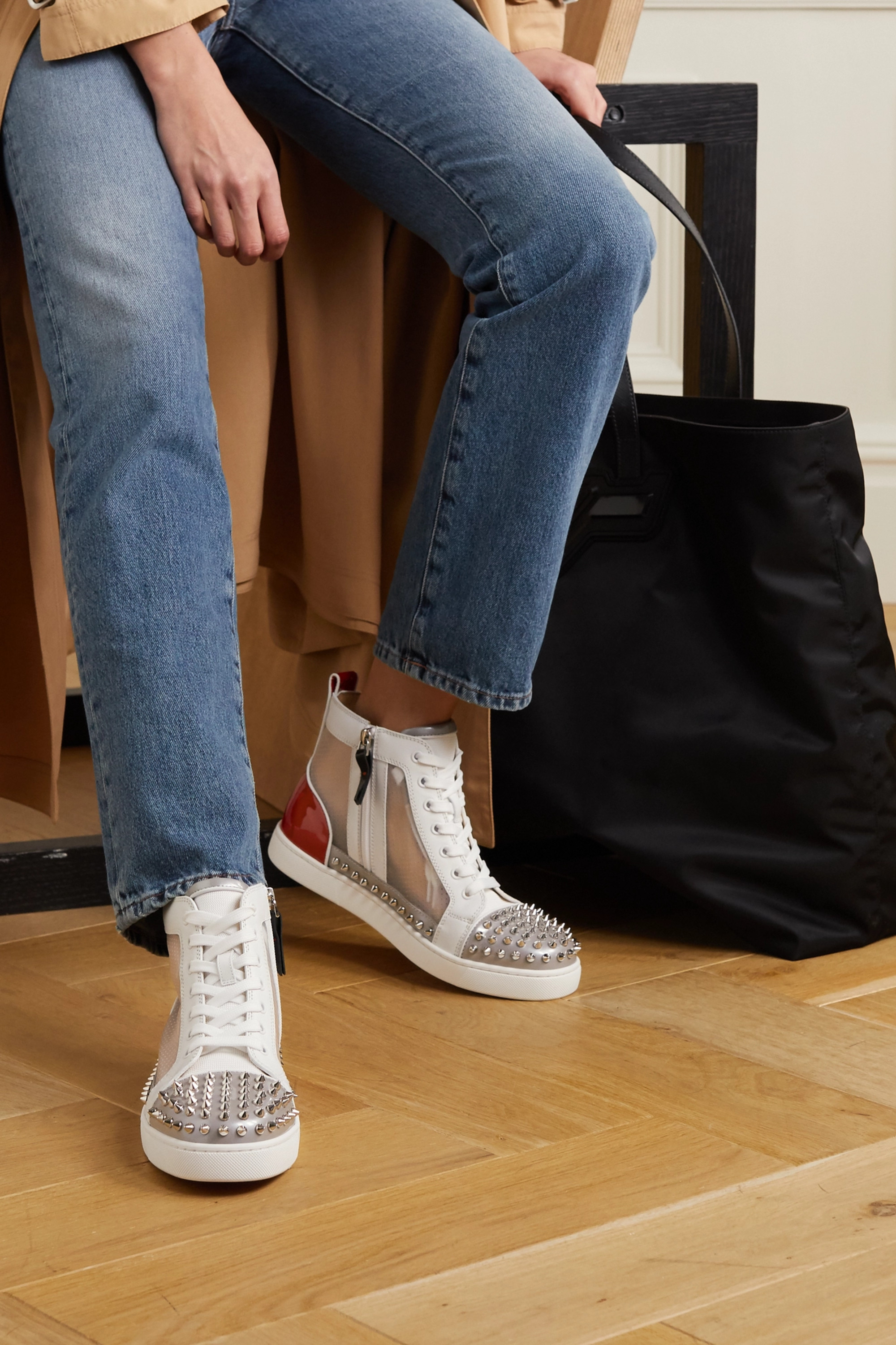 Christian Louboutin Sosoxy Spikes Donna mesh and leather high-top sneakers and cotton socks set
