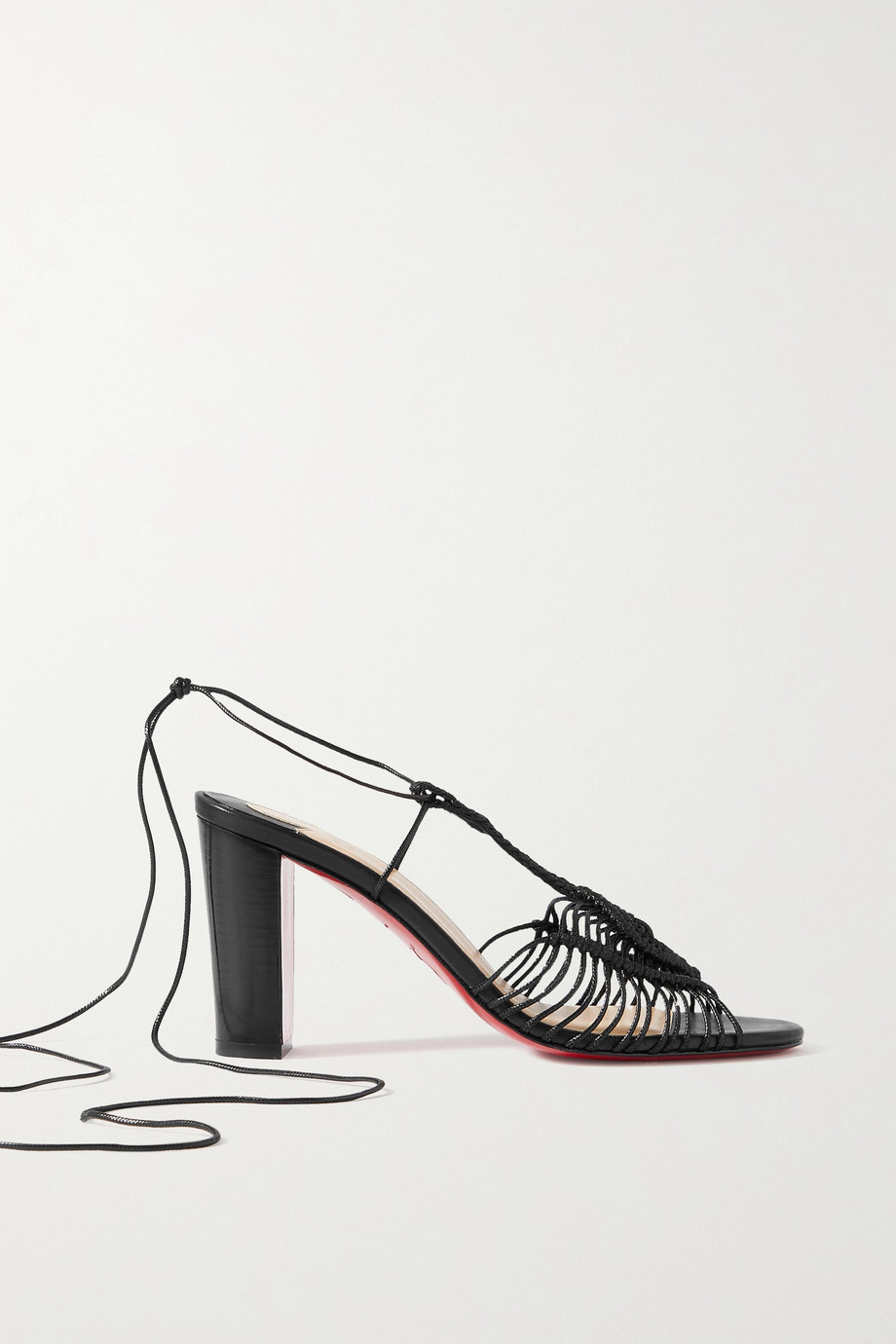 Christian Louboutin Janis in Heels 85 macramé cotton sandals