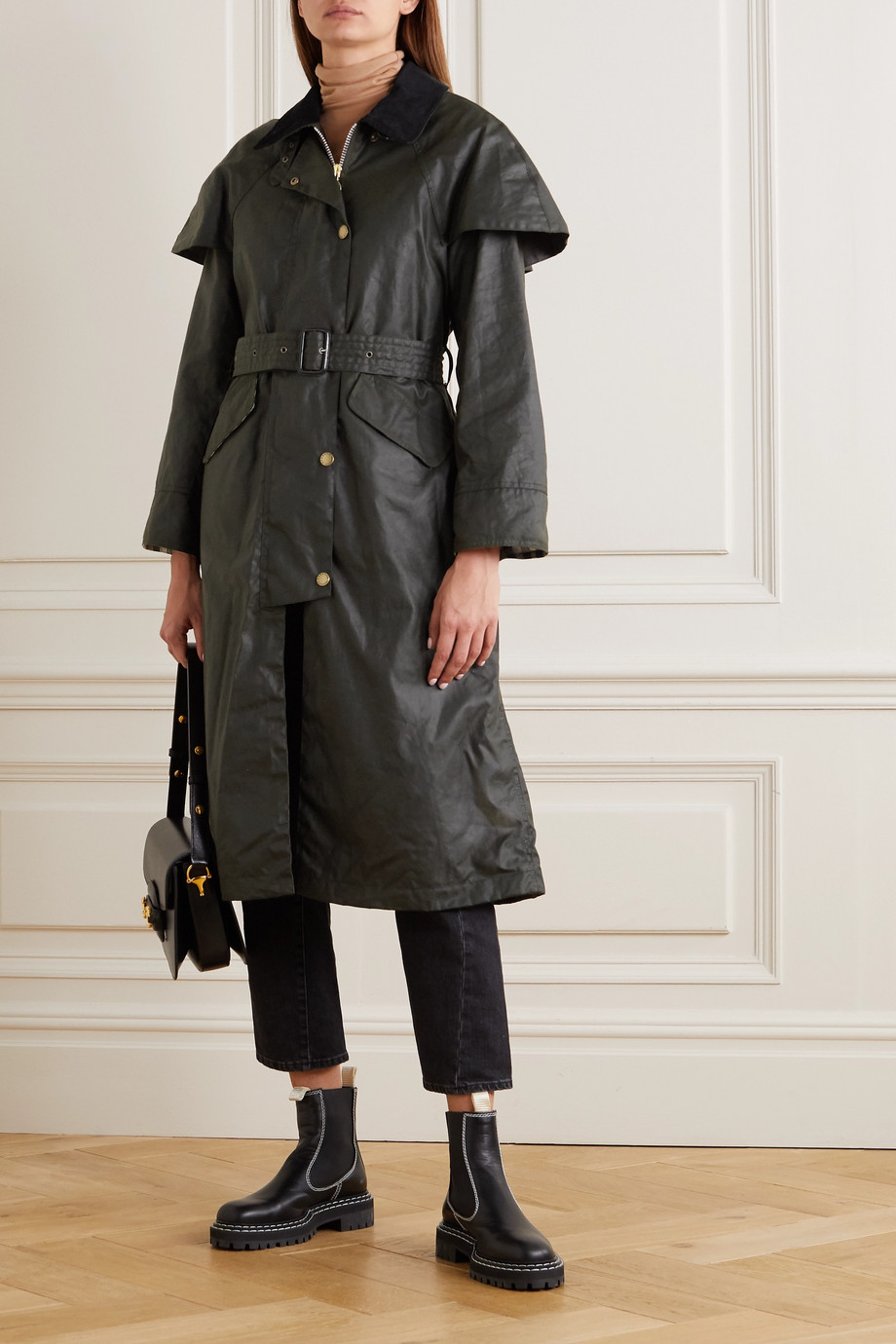 Barbour + ALEXACHUNG Trudie corduroy-trimmed waxed-cotton trench coat