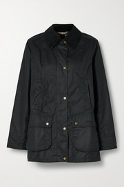 Barbour Fiddich corduroy-trimmed waxed-cotton jacket