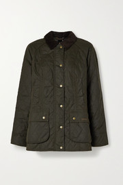 Barbour Gibbon corduroy-trimmed quilted waxed-cotton jacket