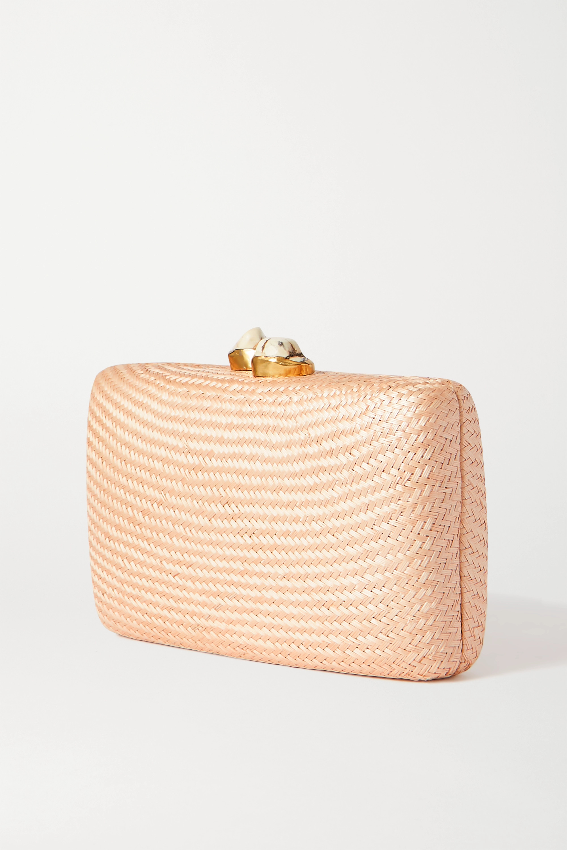 Kayu Jen woven straw clutch