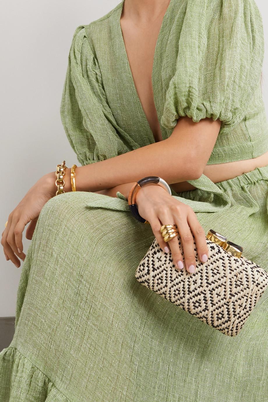 Kayu Cleo woven straw clutch