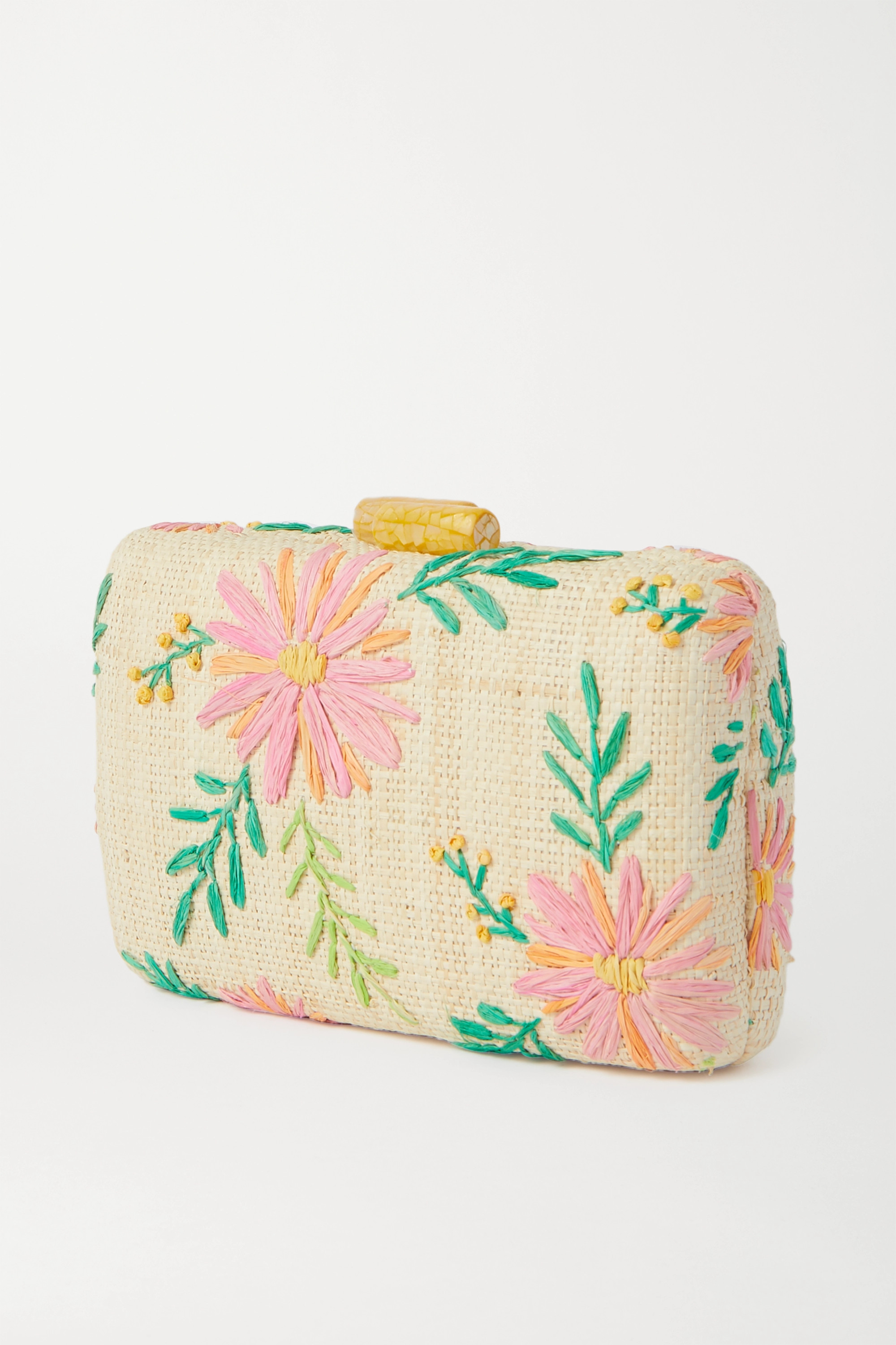 Kayu Claire embroidered straw clutch