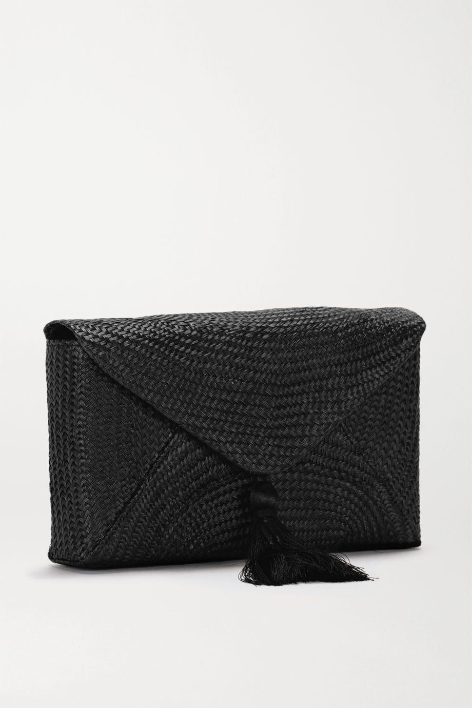 Kayu Cassia woven straw clutch