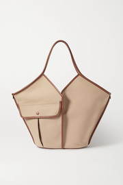 HEREU + Space for Giants Duna large leather-trimmed organic cotton-canvas tote