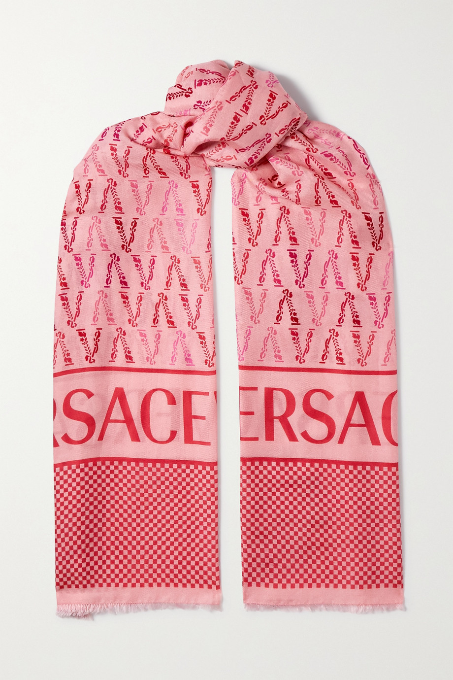 Versace Frayed printed cotton and silk-blend twill scarf
