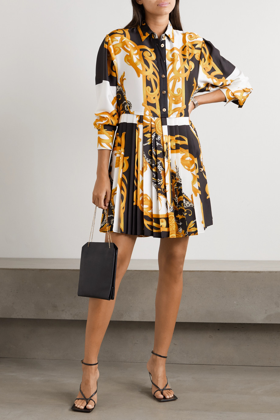 Versace Pleated printed silk-twill mini shirt dress