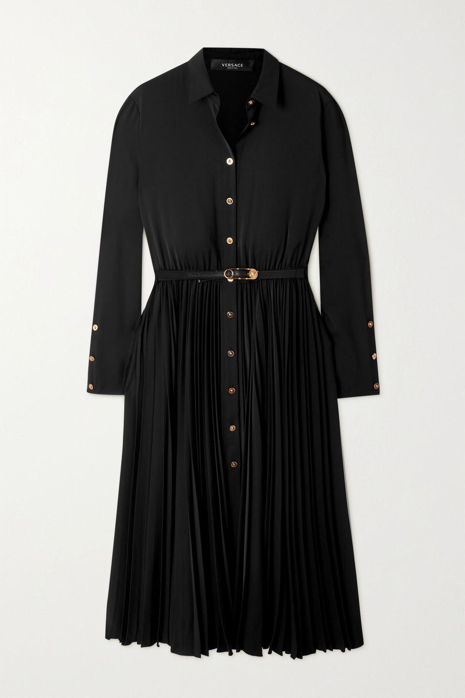 Versace Robe-chemise midi en crêpe à plis et à ceinture