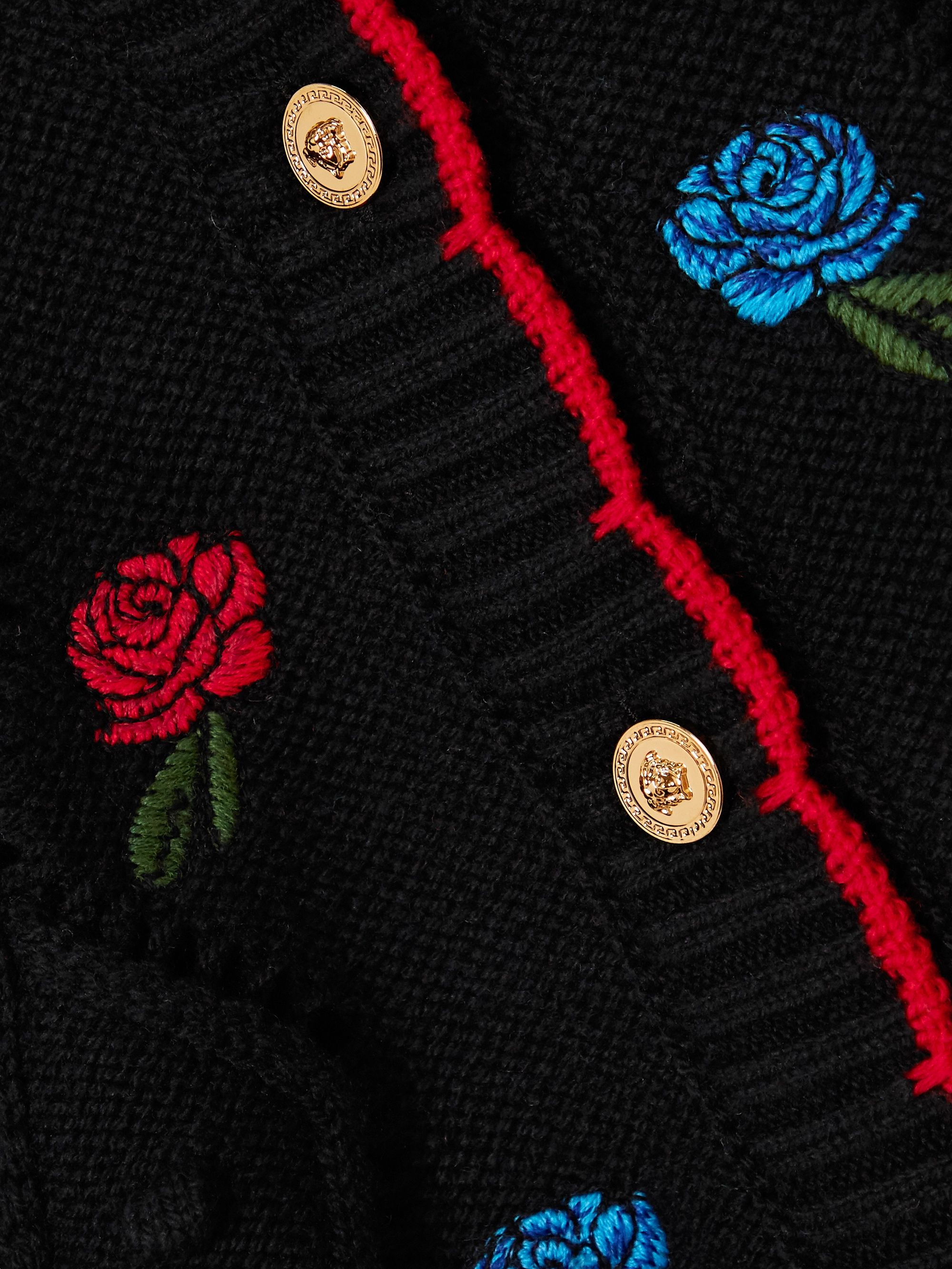 Versace Embroidered crochet-knit wool cardigan