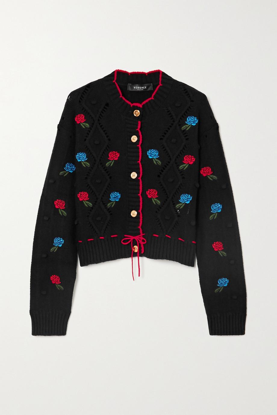 Versace Cardigan aus gehäkelter Wolle mit Stickereien