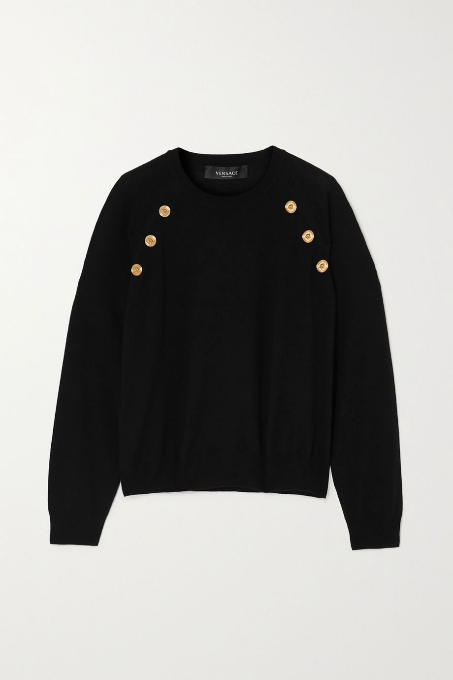 Versace Button-embellished wool sweater