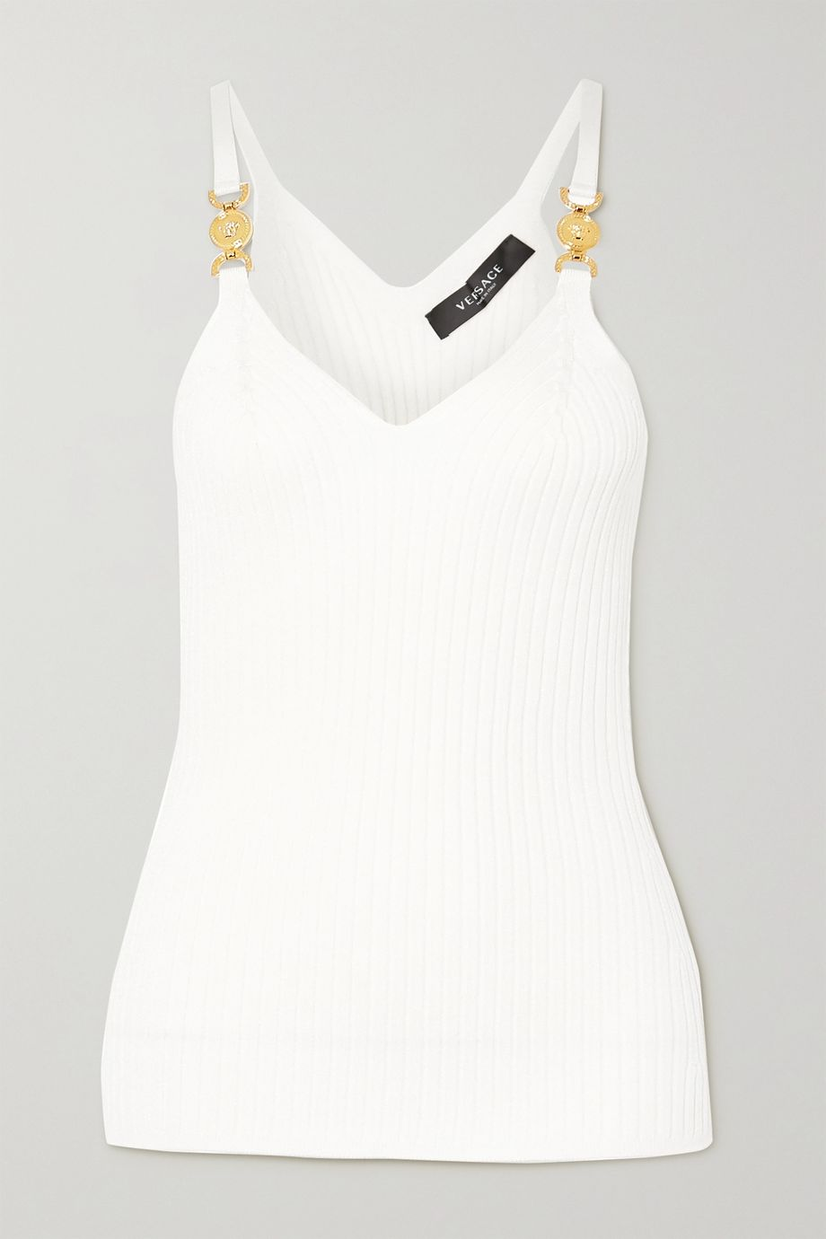 Versace Embellished ribbed-knit camisole