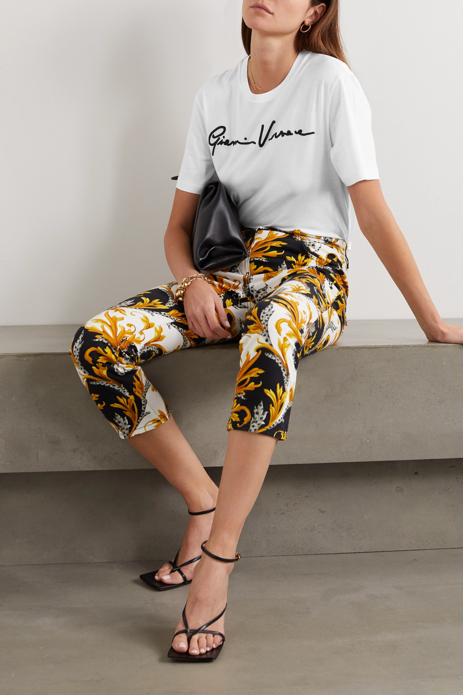 Versace Embroidered cotton-jersey T-shirt