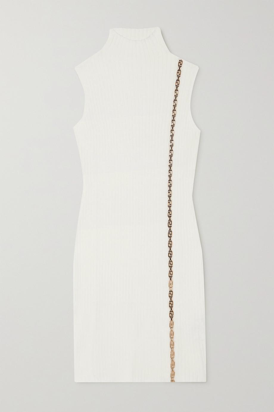 Versace Embellished ribbed wool-blend turtleneck mini dress