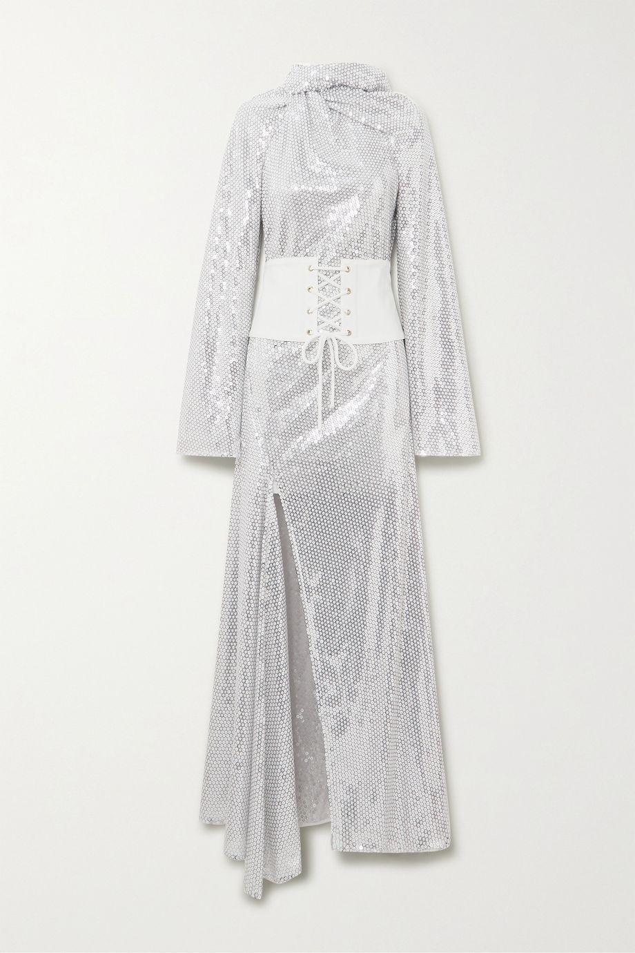 Ellery Fernando belted sequined tulle maxi dress
