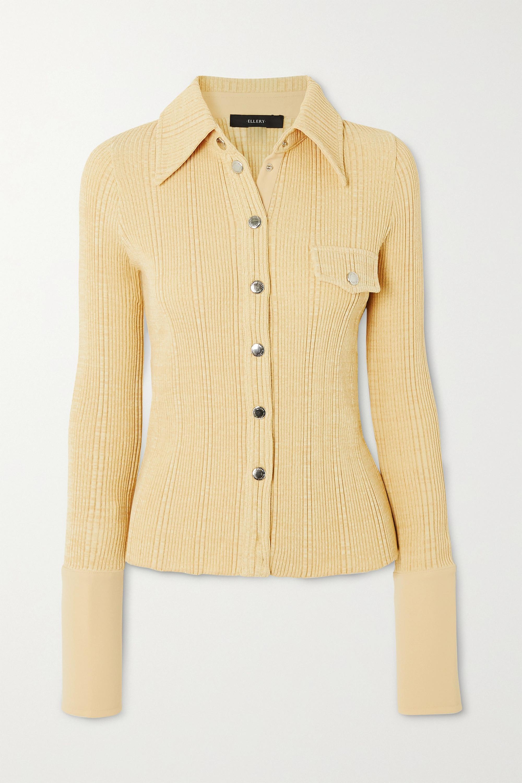 Ellery Crepe-trimmed ribbed-knit shirt