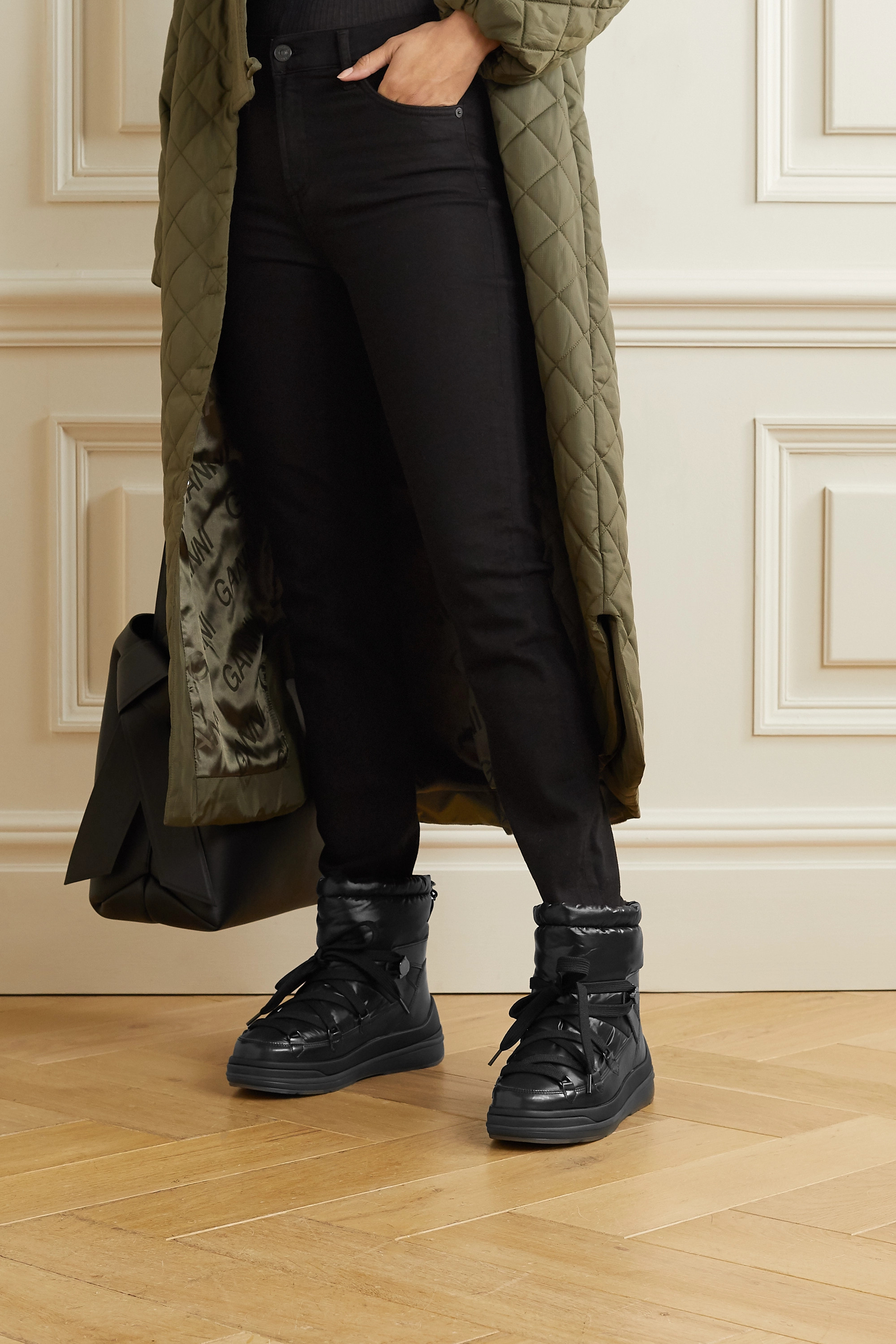 Moncler Insolux leather and padded shell ankle boots