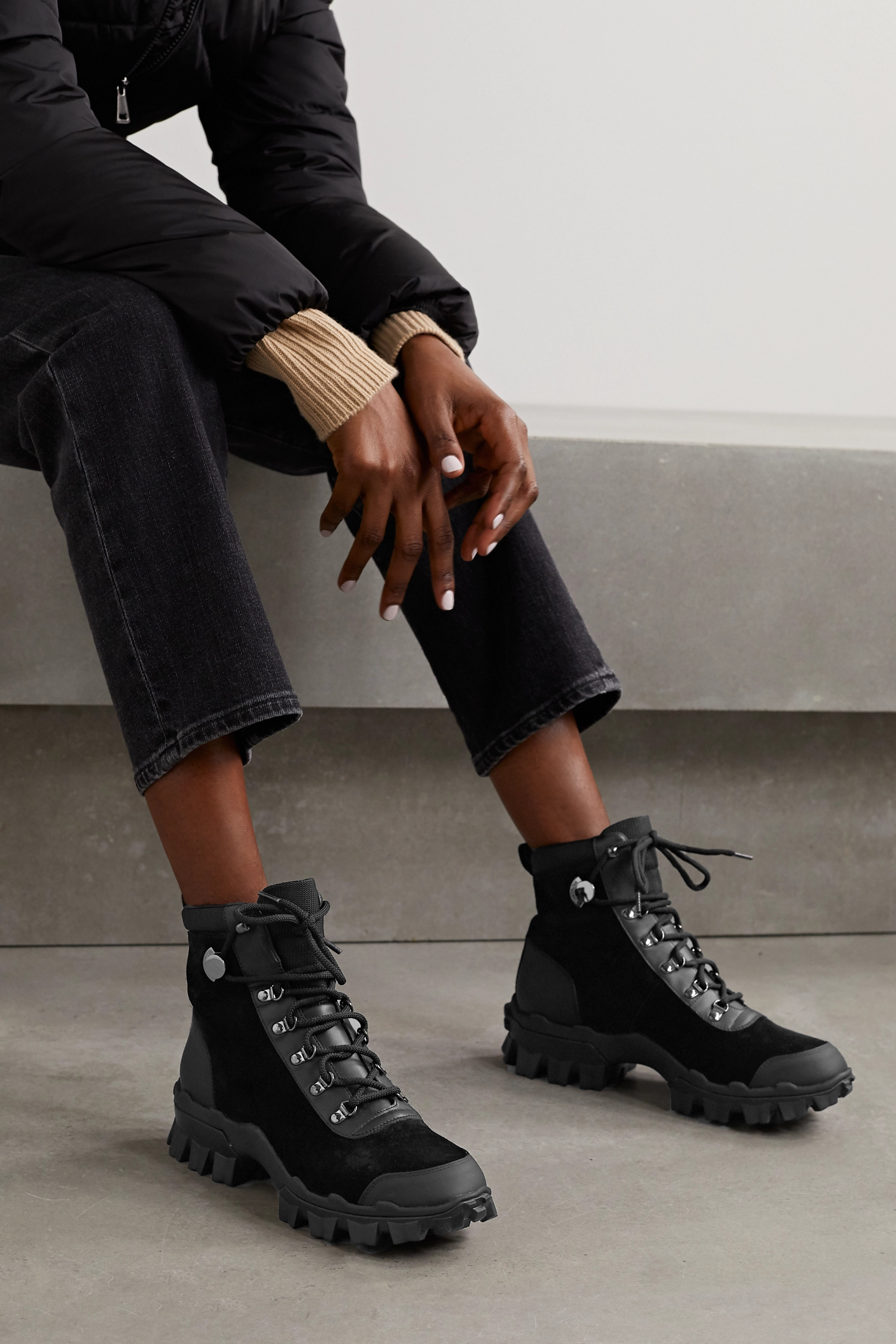 Moncler Helis logo-print leather-trimmed suede ankle boots
