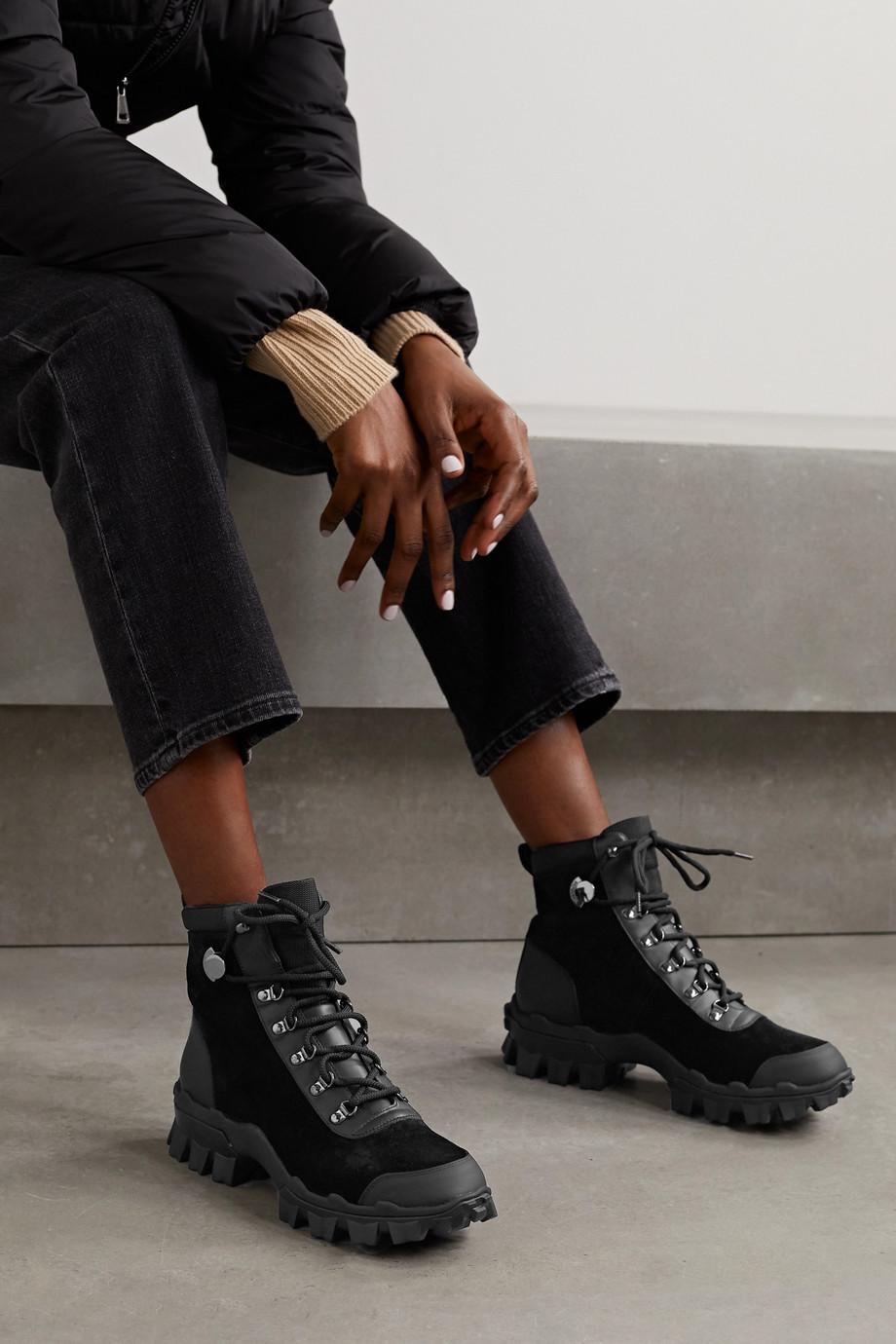 Moncler Helis 品牌标志印花皮革边饰绒面革踝靴