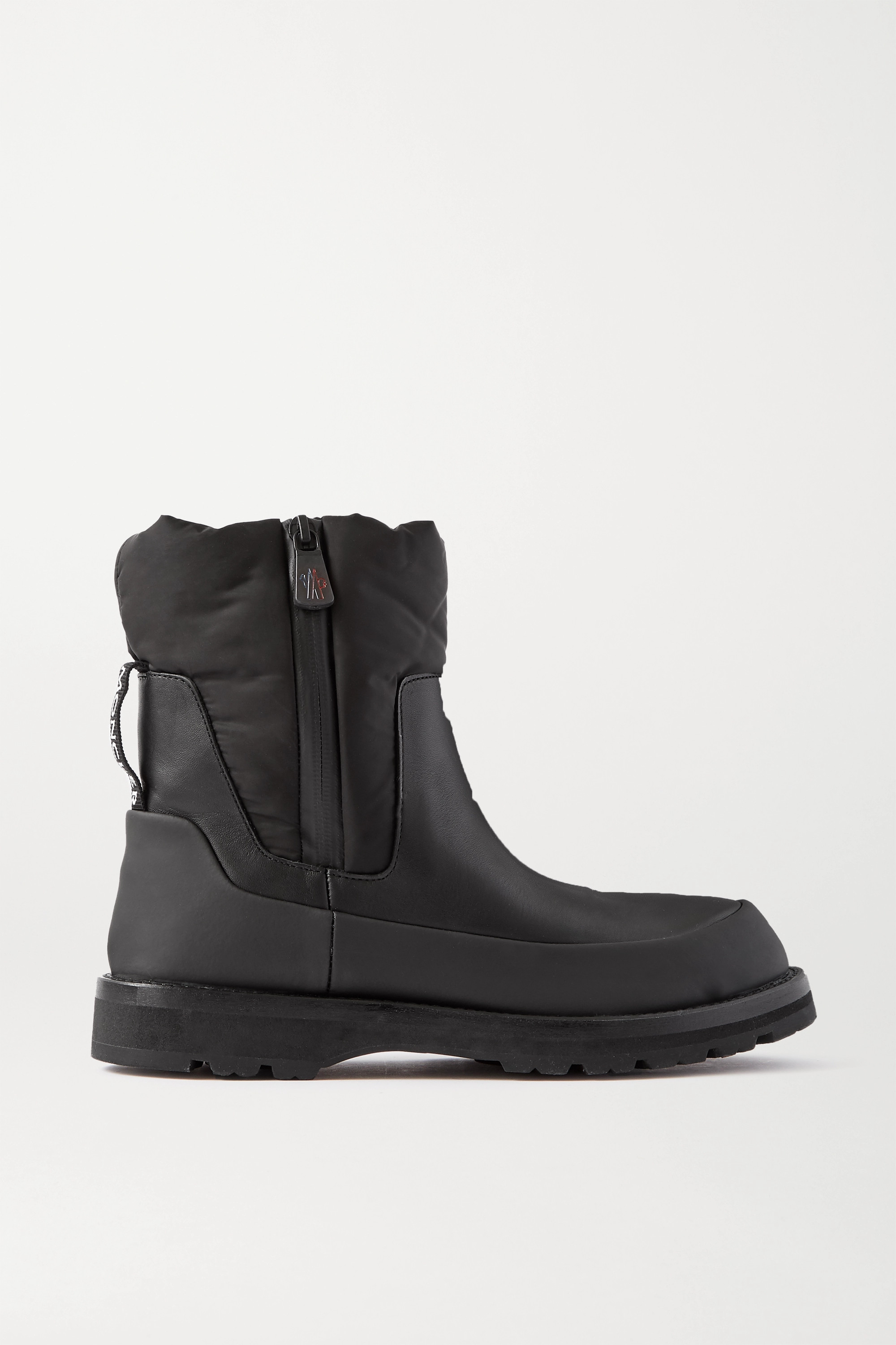 Moncler Rain Don't Care paneled leather and shell ankle boots