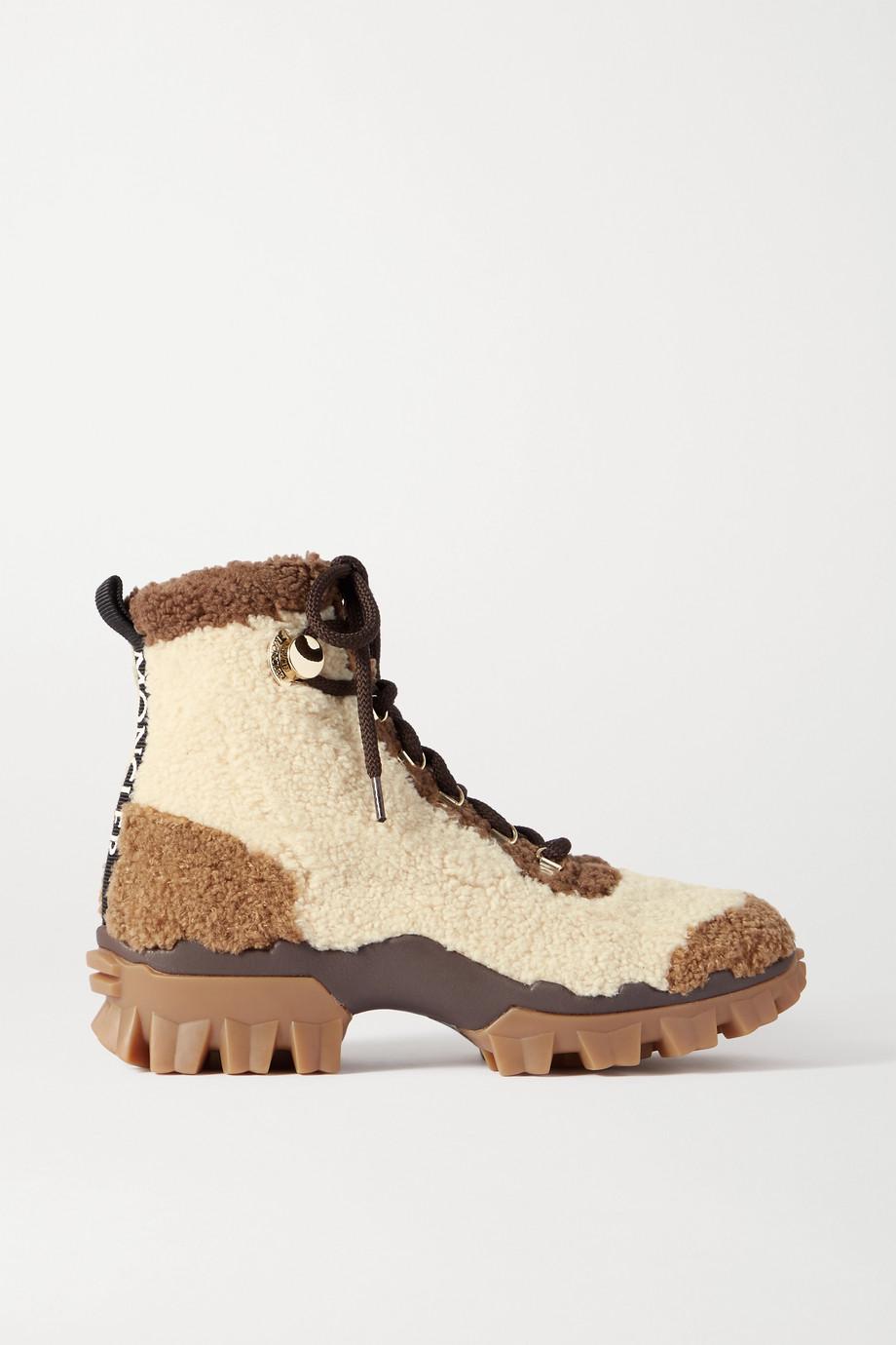 Moncler Helis 品牌标志印花羊毛皮踝靴