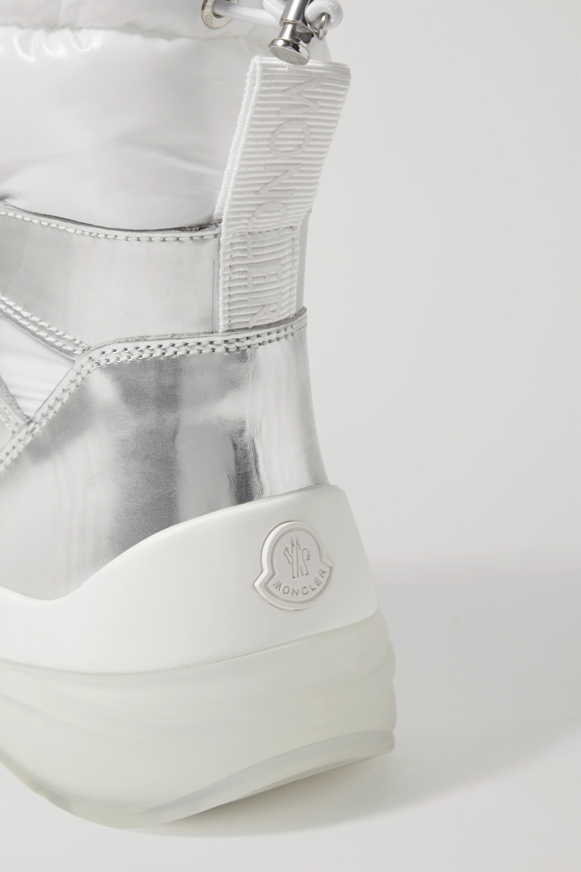 Moncler Insolux metallic leather and padded shell ankle boots