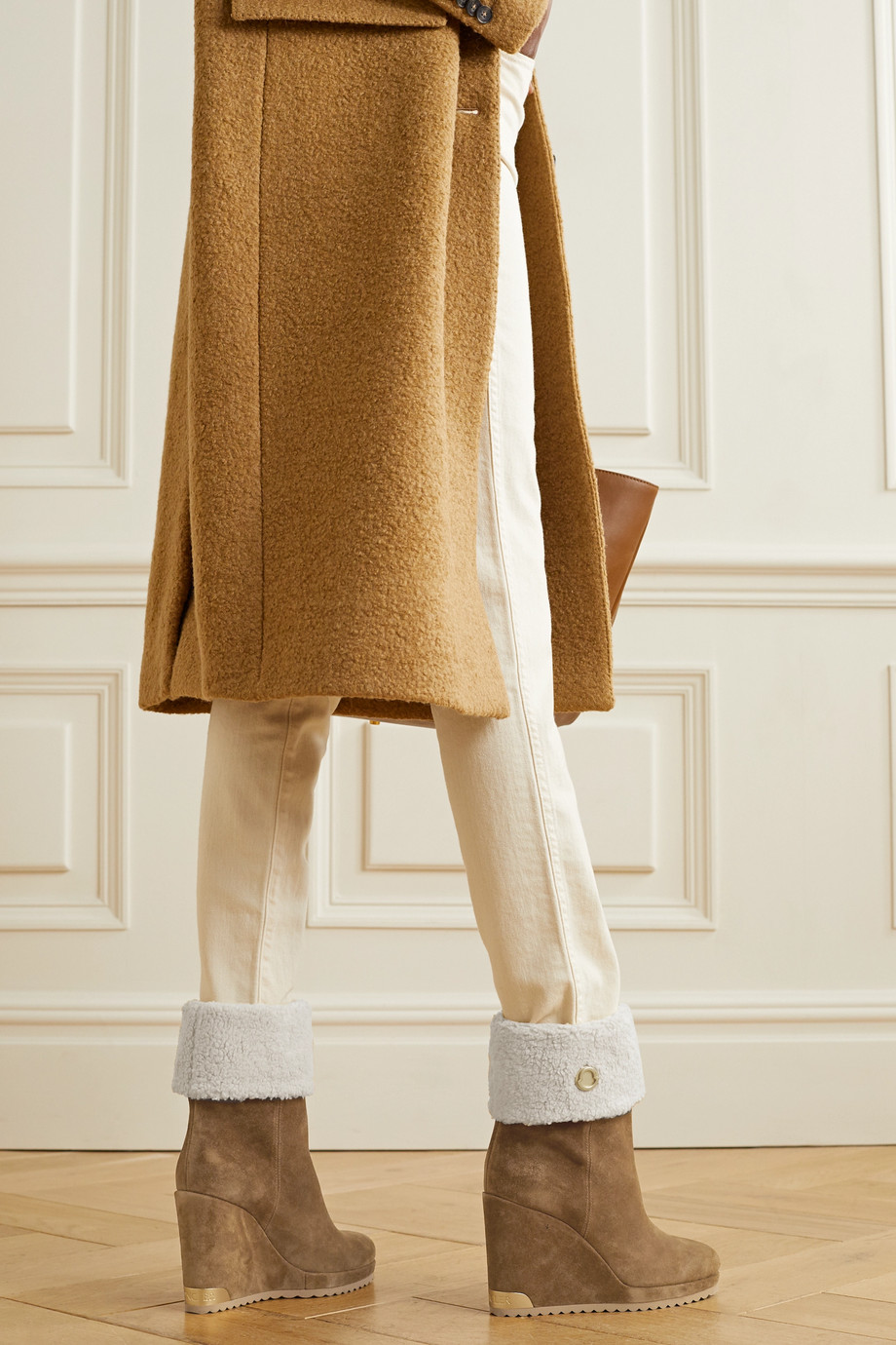 Moncler W Short shearling-lined suede wedge ankle boots
