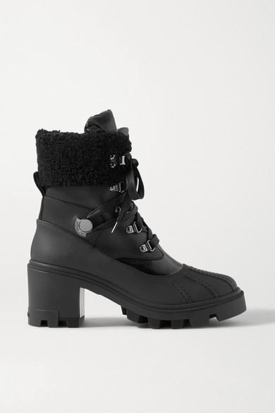 Moncler CORINNE LEATHER AND FAUX SHEARLING-TRIMMED RUBBER ANKLE BOOTS