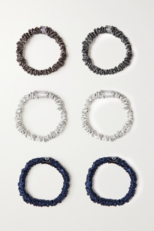 Slip Set aus sechs schmalen Haargummis aus Seide