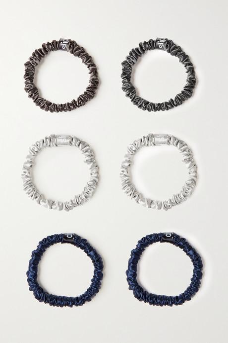 Multi Set of six small silk hair ties | Slip GjqdTu