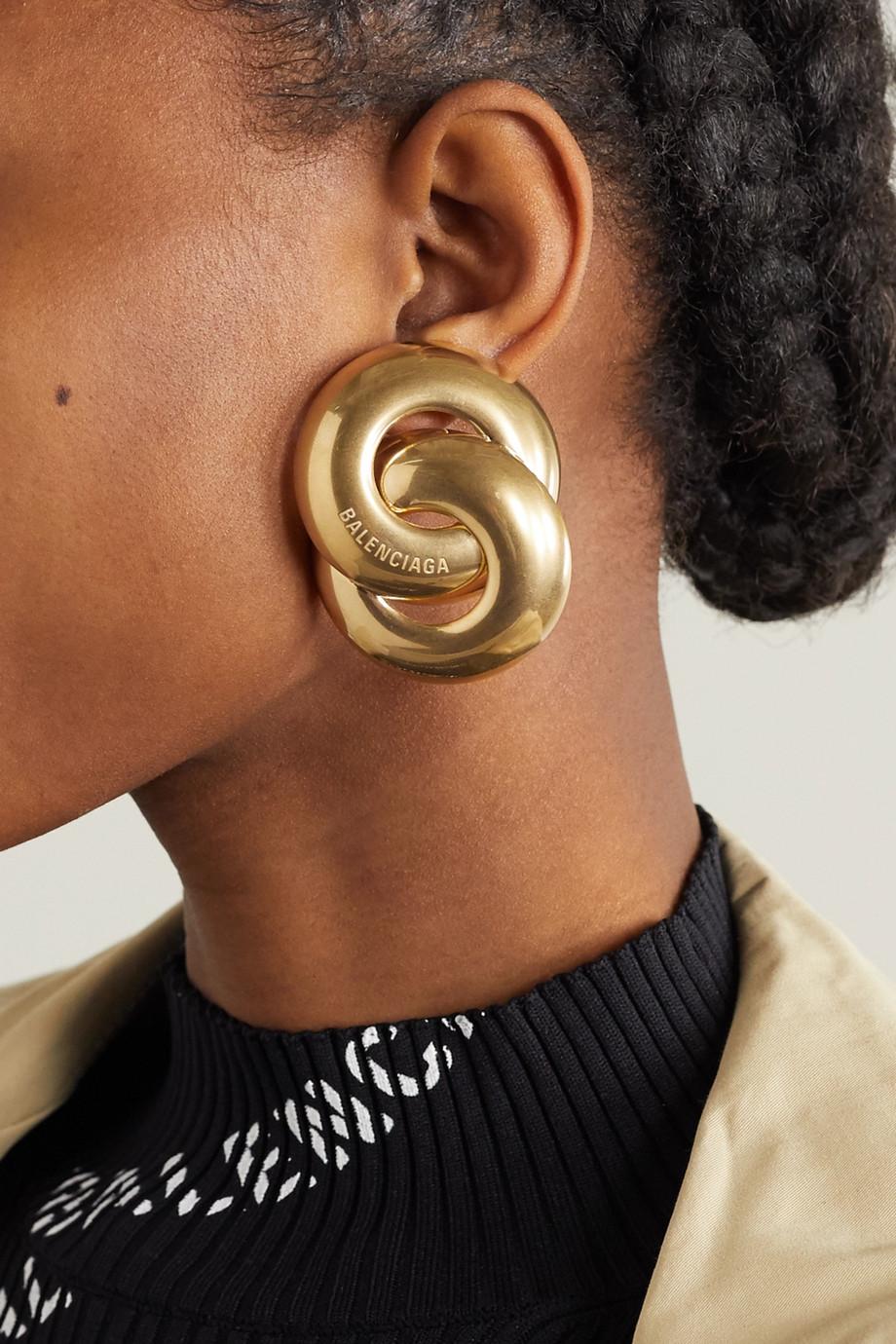 Balenciaga Boucles d'oreilles dorées Twin