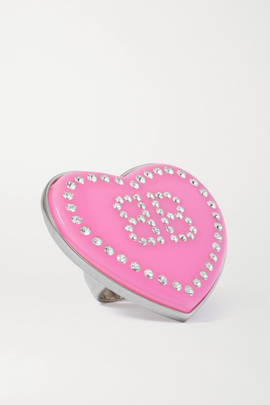 Balenciaga Crush silberfarbener Oversized-Ring mit Harz und Kristallen