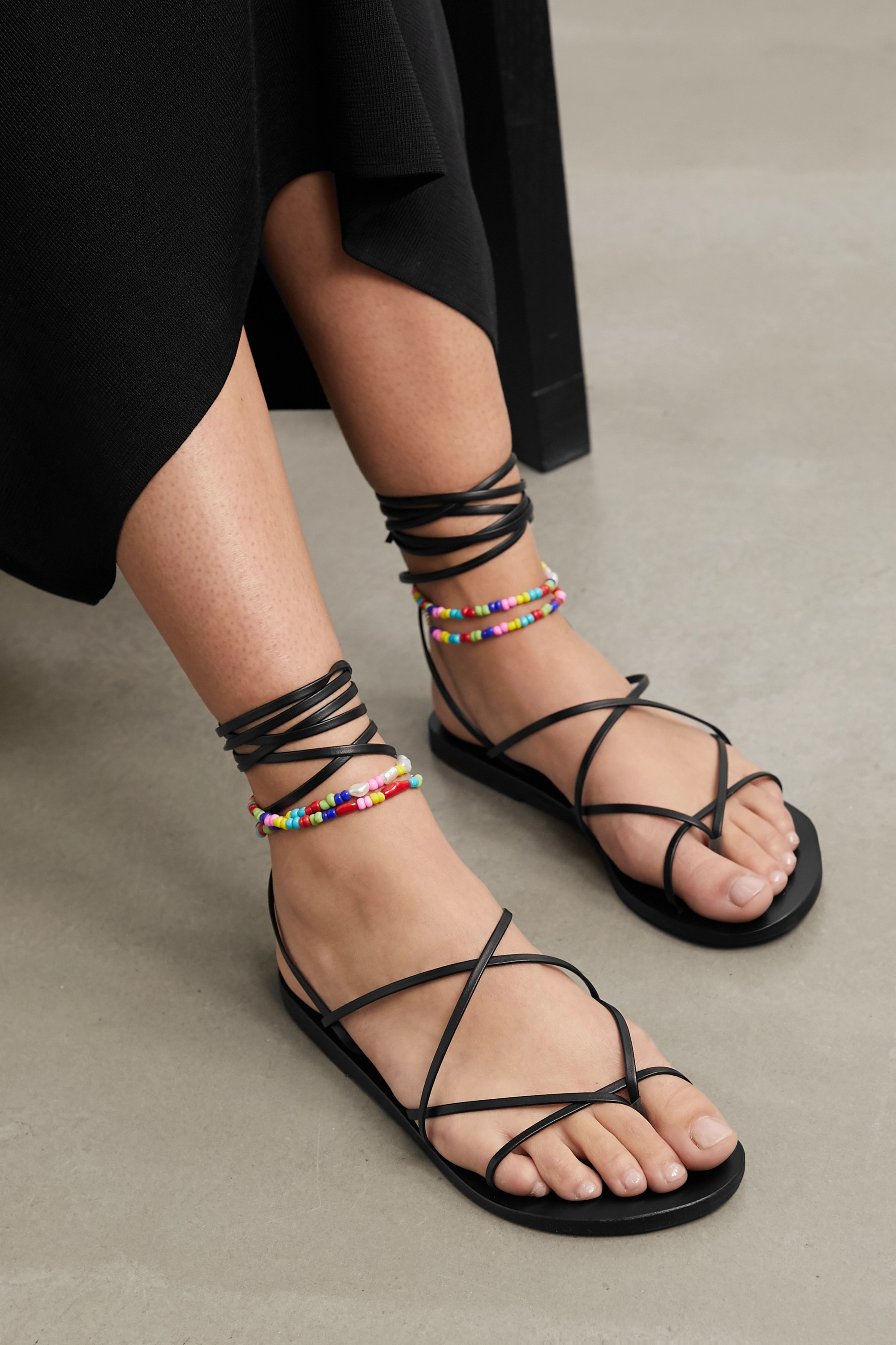 Ancient Greek Sandals Ermioni pearl and bead-embellished leather sandals