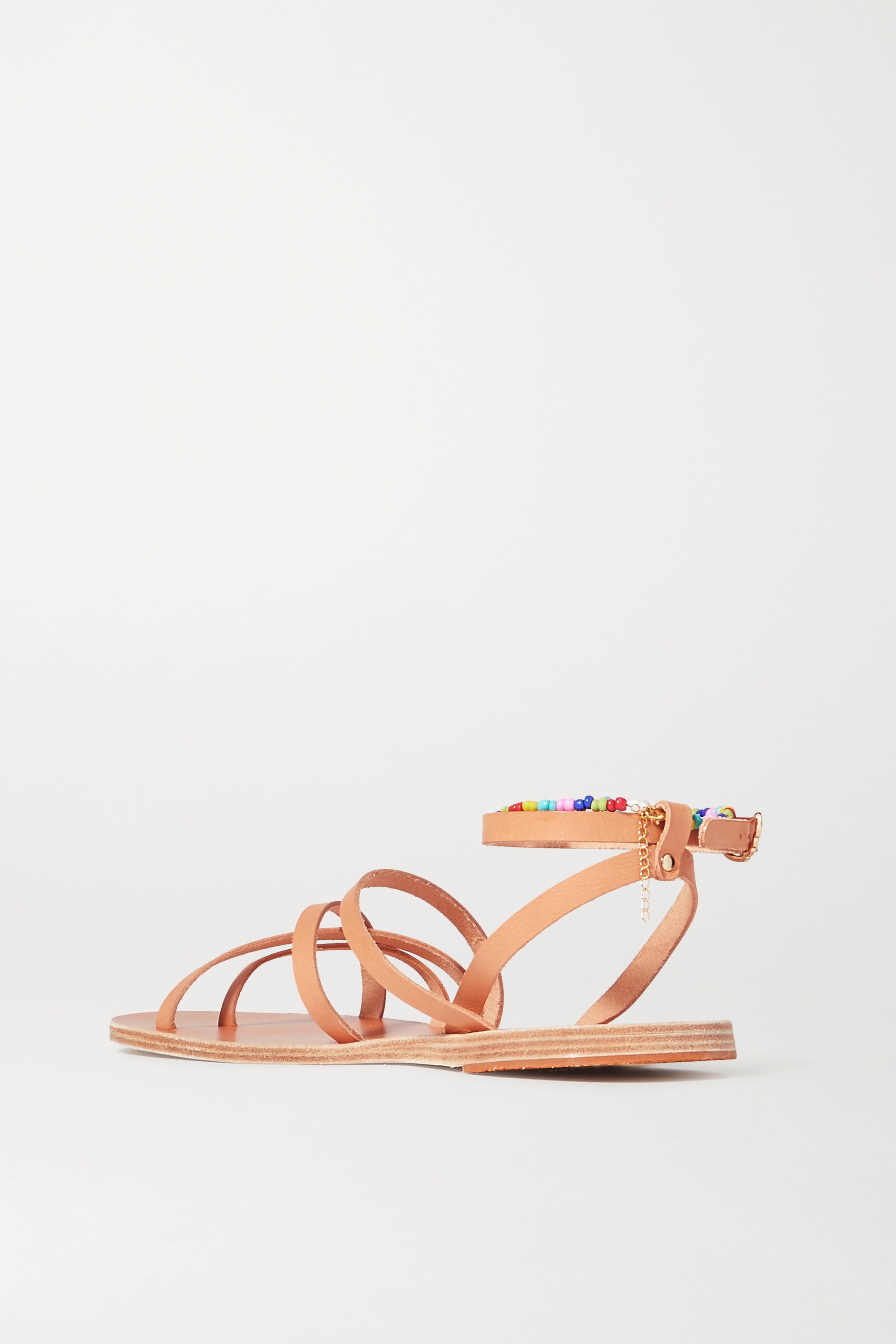 Ancient Greek Sandals Vrysida pearl and bead-embellished leather sandals